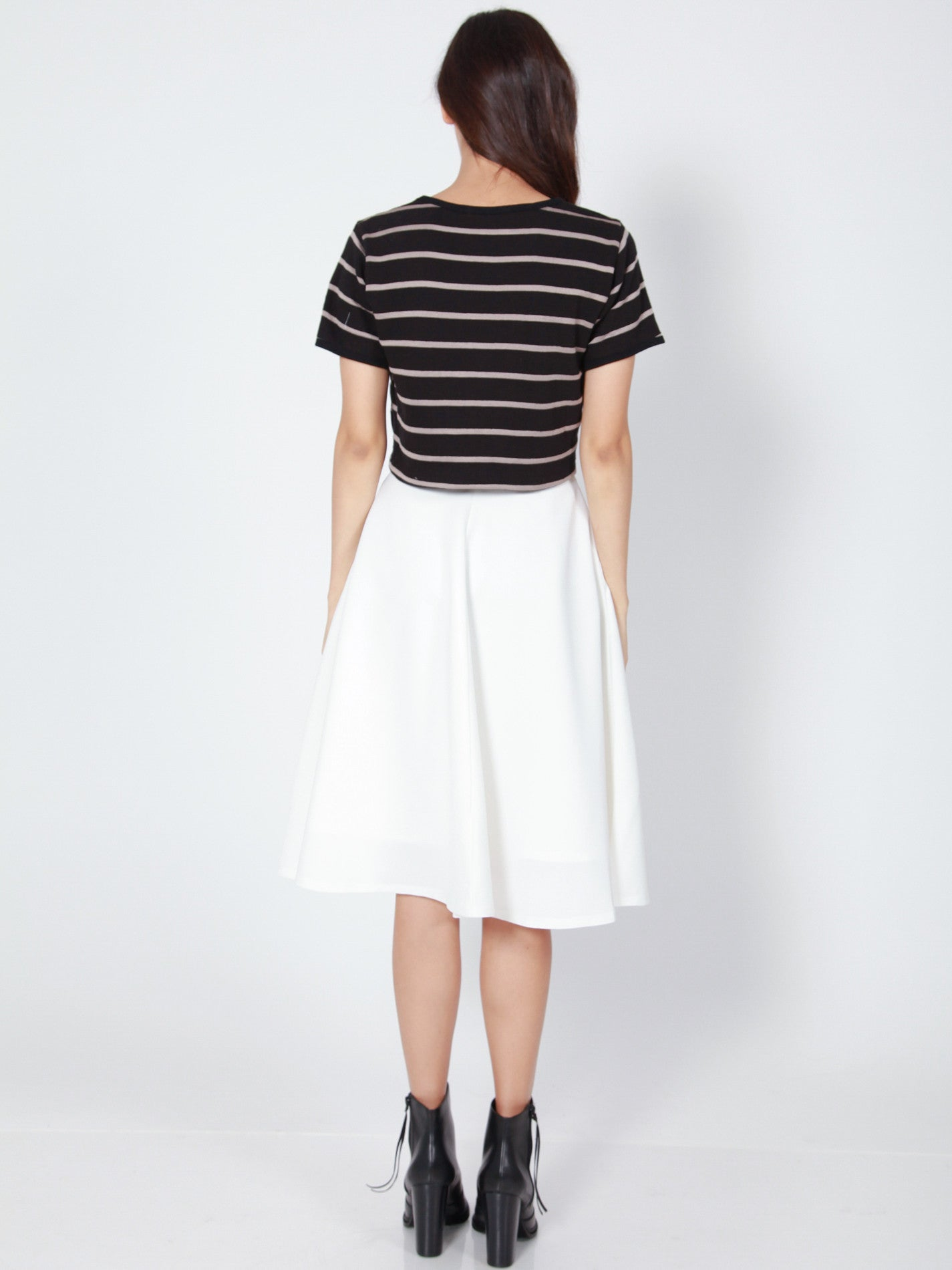 LANA Midi Skirt with Pockets (White)