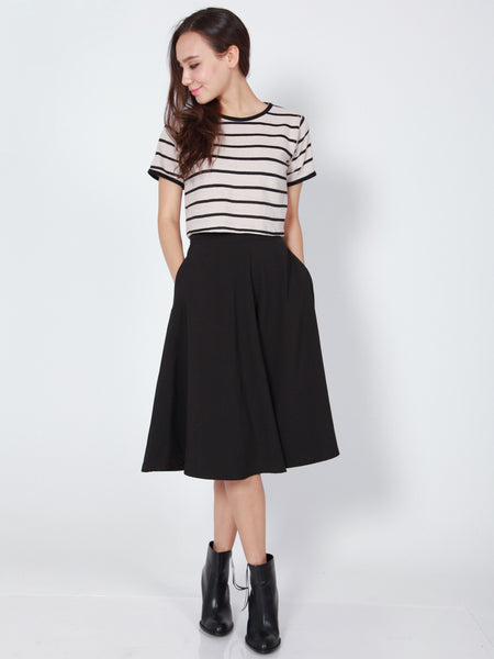 LANA Midi Skirt with Pockets (Black)