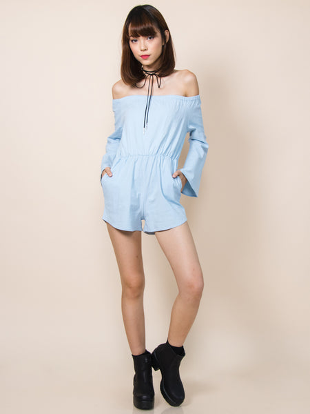 EDEN Off-Shoulder Playsuit (Sky Blue)