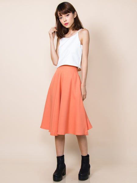 LANA Midi Skirt with Pockets (Tangerine)