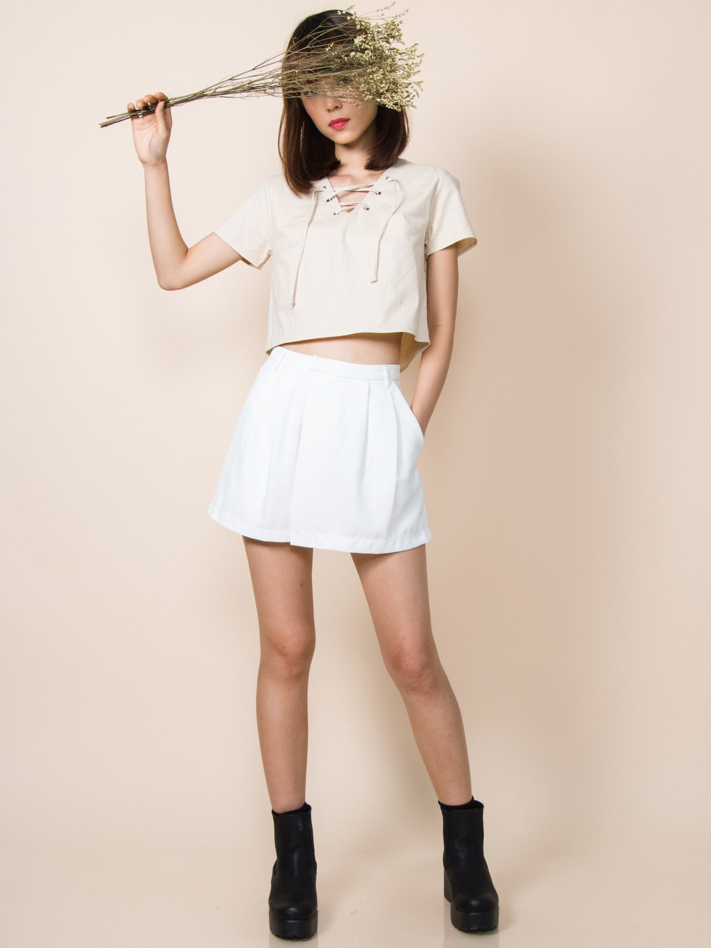 ANDIE Pleated Foldover Shorts (White)