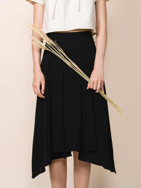 WILLOW Waterfall Drape Skirt (Black)