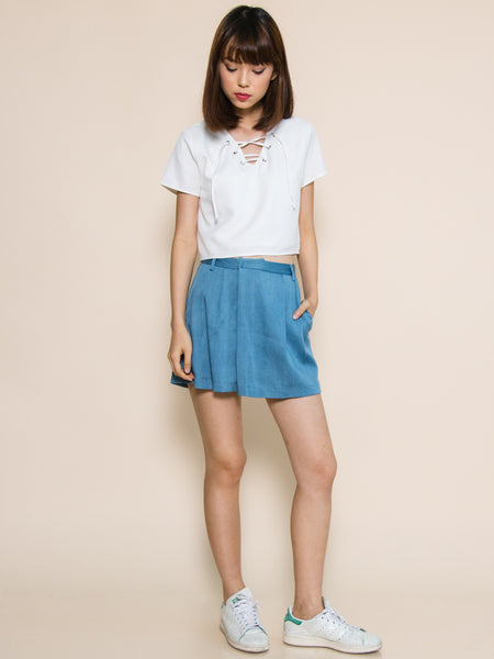 ANDIE Pleated Foldover Shorts (Denim)