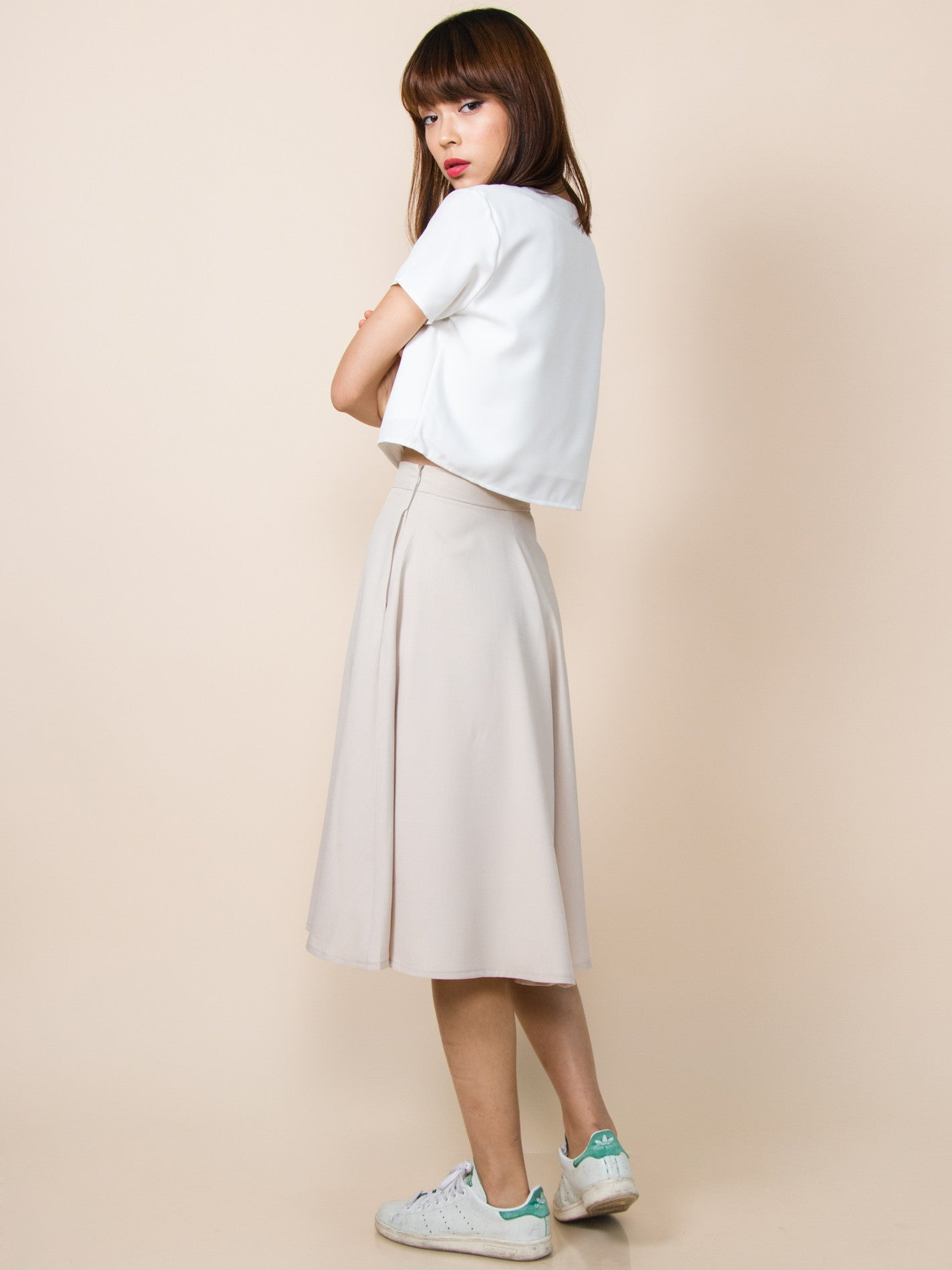 LANA Midi Skirt with Pockets (Neutral)
