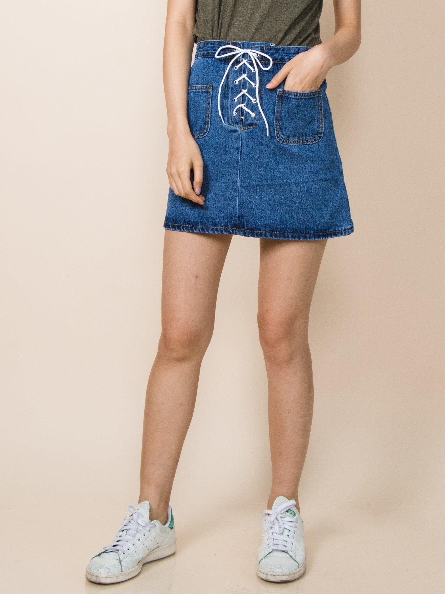 AUDREY Tie-Front Denim Skirt (Dark Wash)