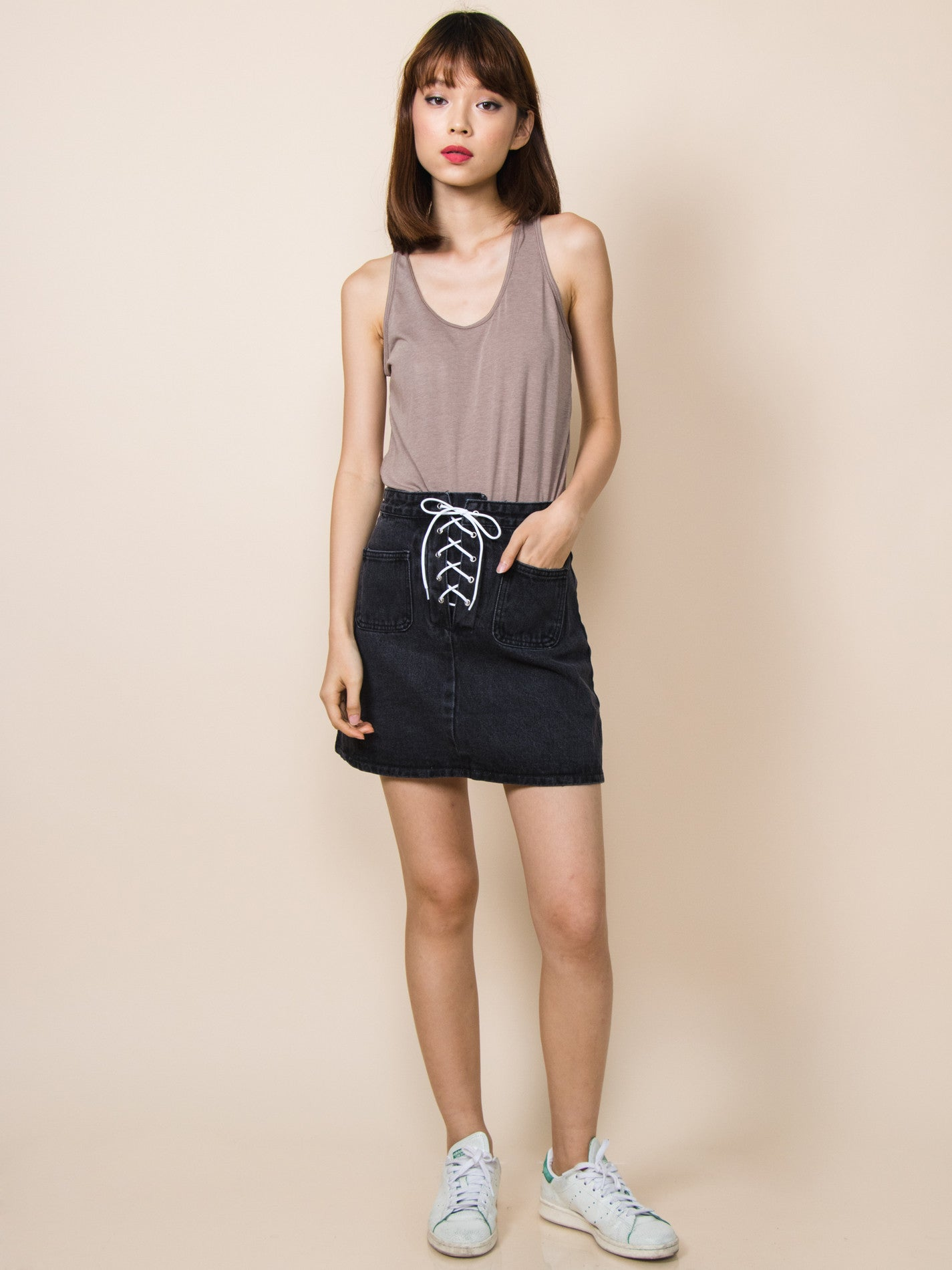 AUDREY Tie-Front Denim Skirt (Black)