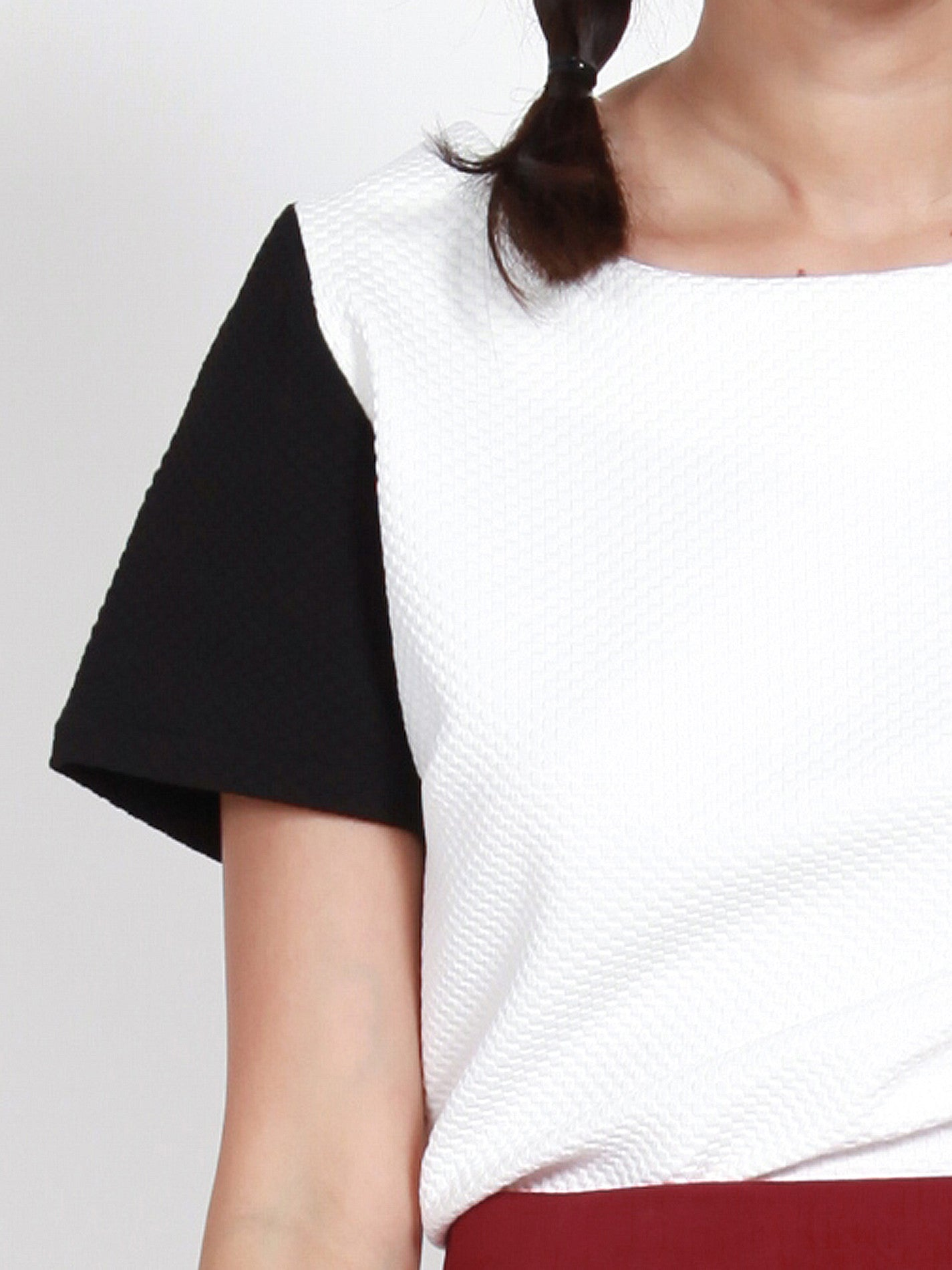 JENA Textured Contrast Sleeve Top (White)