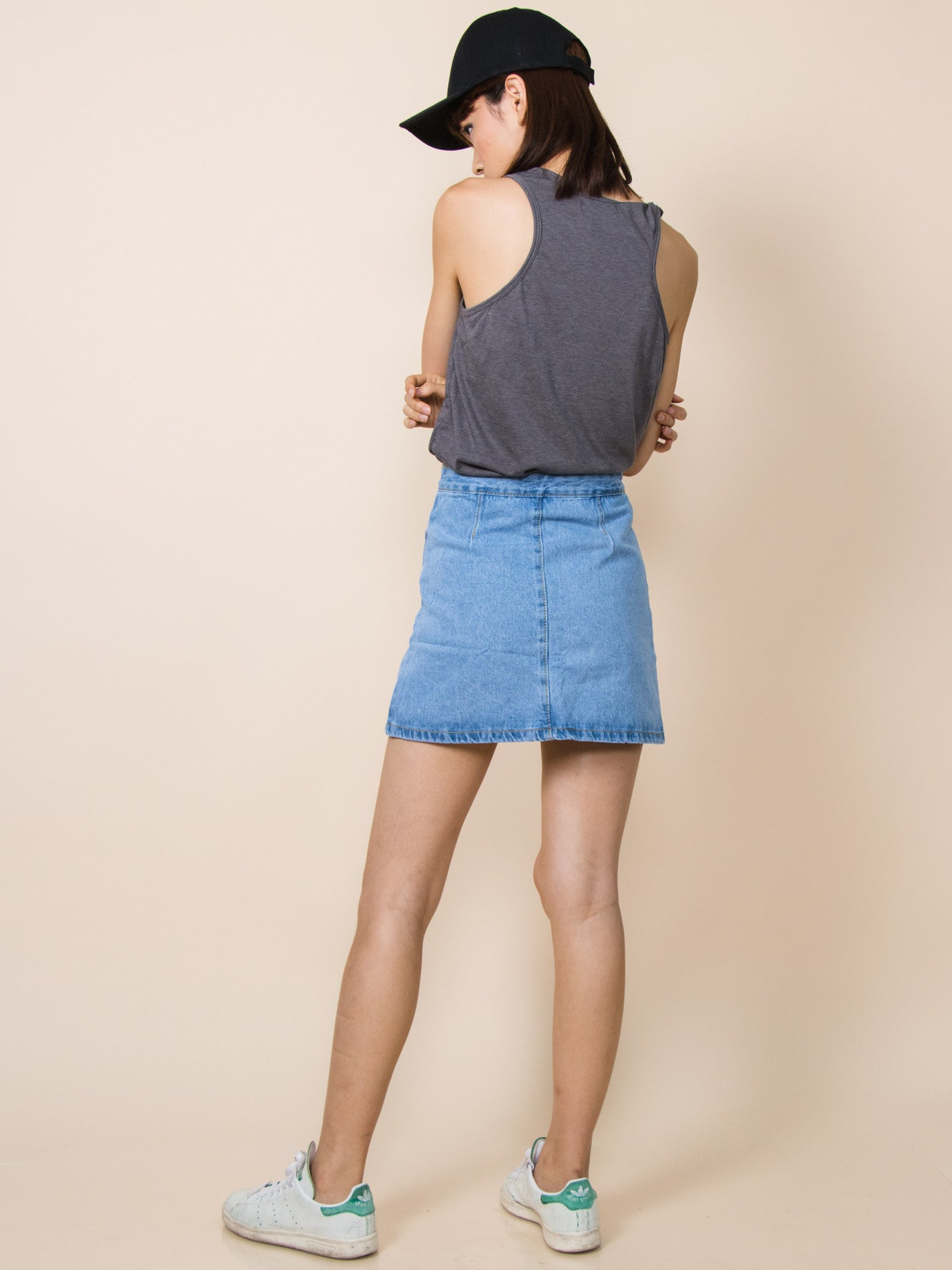 AUDREY Tie-Front Denim Skirt (Light Wash)