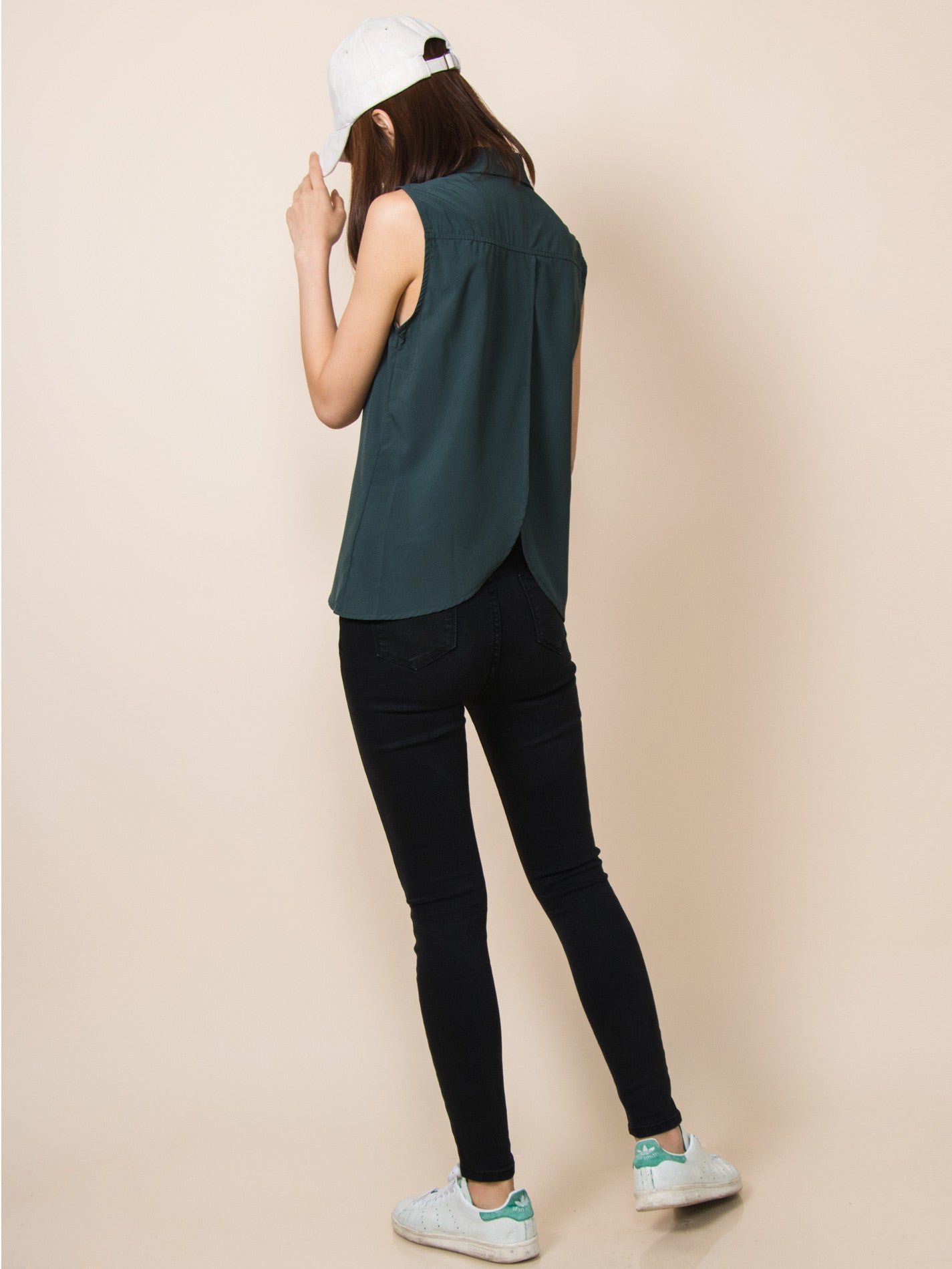 TAYLOR Curved Hem Shirt (Forest Green)