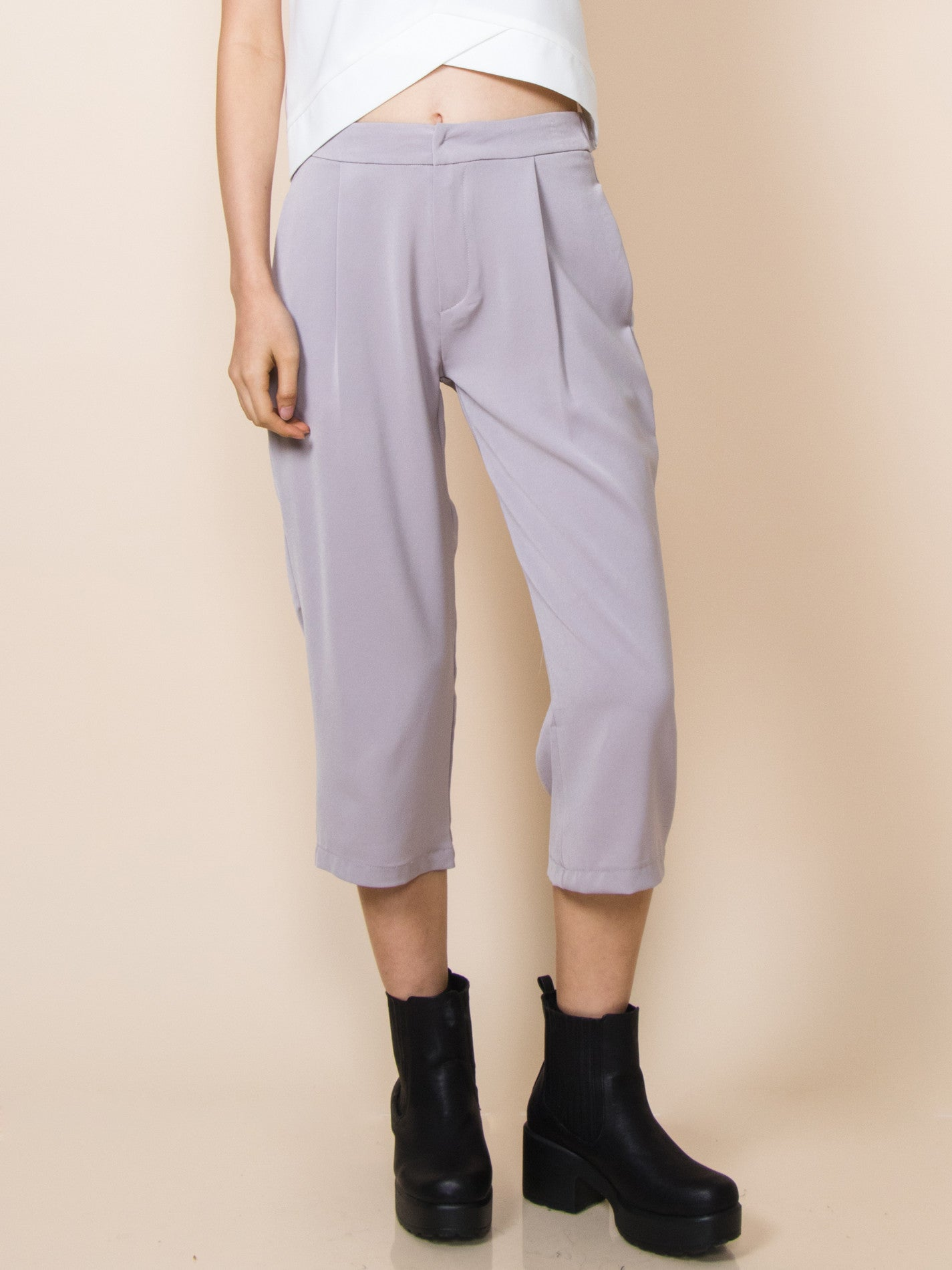 CHARLOTTE Midi Pants (Dusty Lavender)