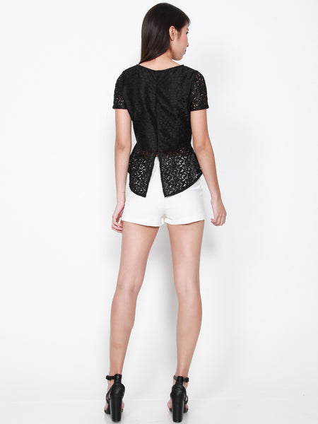 SURI Lace Dipped Back Top (Black)