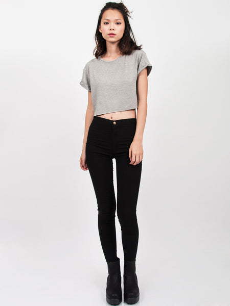 KENDALL Everyday Cropped Tee (Light Grey)
