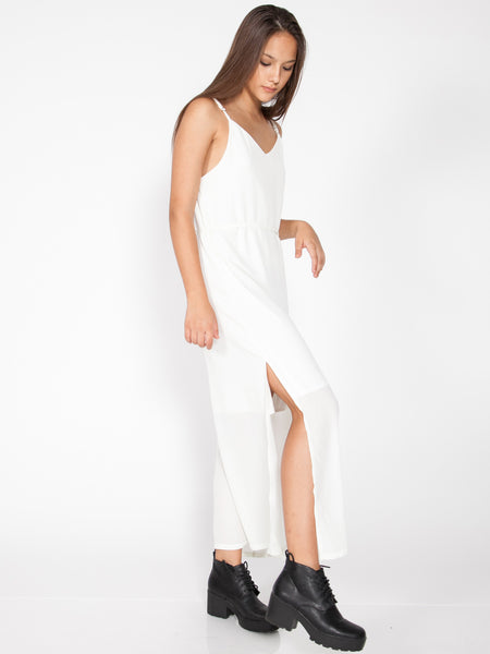 HAILEY Side Slit Maxi Dress (White)