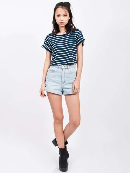 SERA Striped Cropped Tee (Blue)