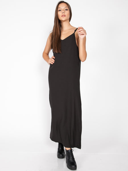 HAILEY Side Slit Maxi Dress (Black)