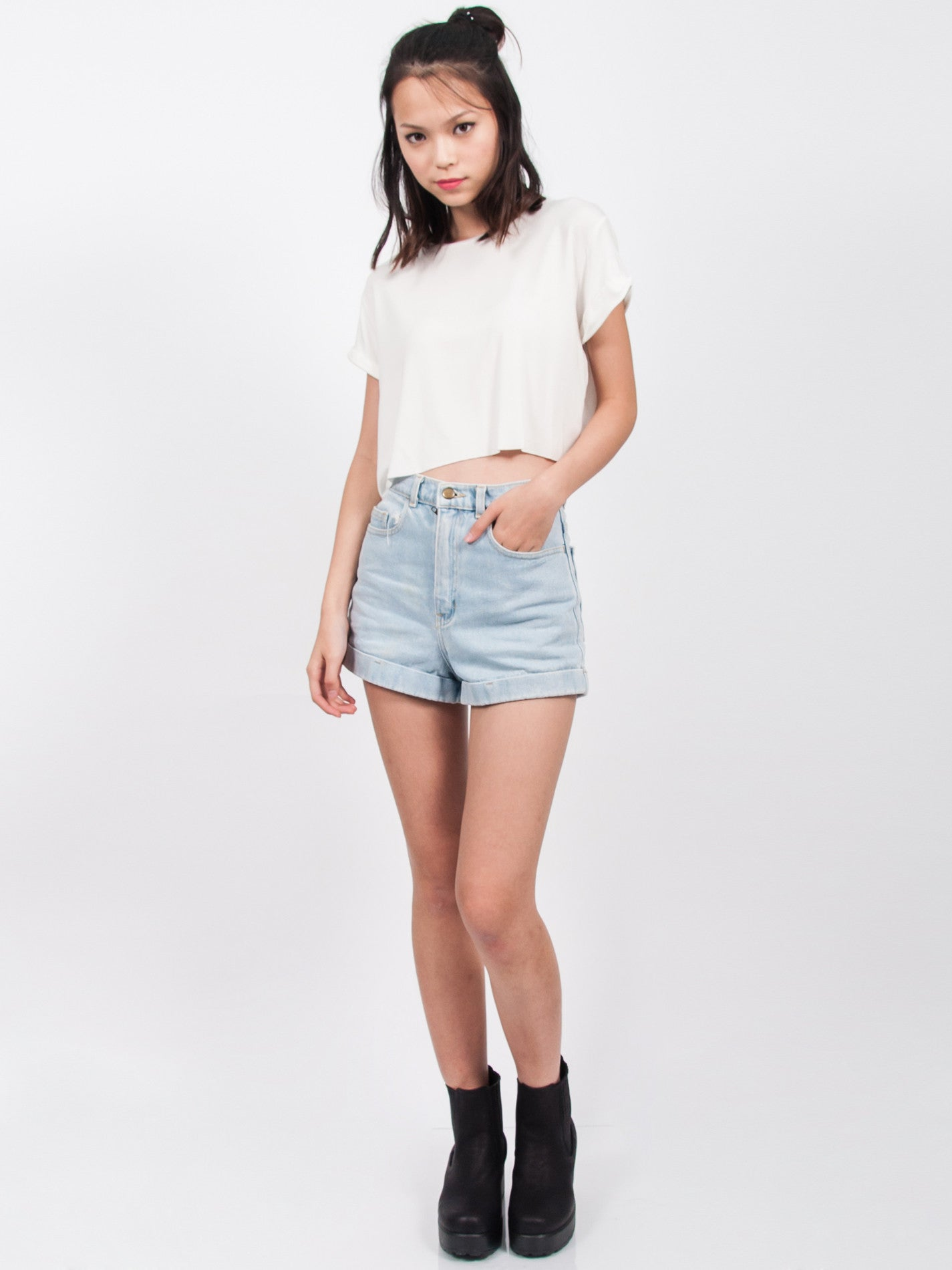 KENDALL Everyday Cropped Tee (White)