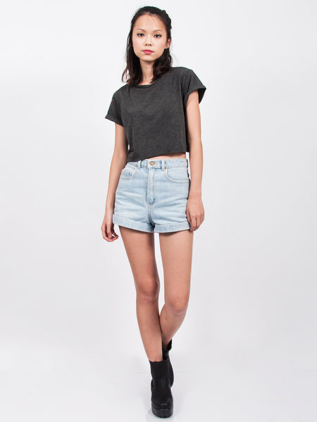 KENDALL Everyday Cropped Tee (Dark Grey)