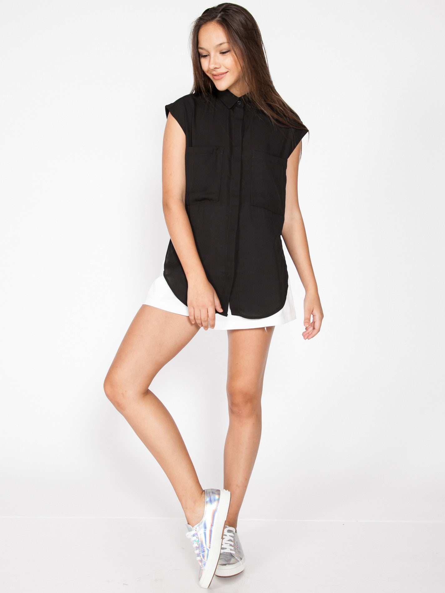 CADEN Side Split Shirt (Black)