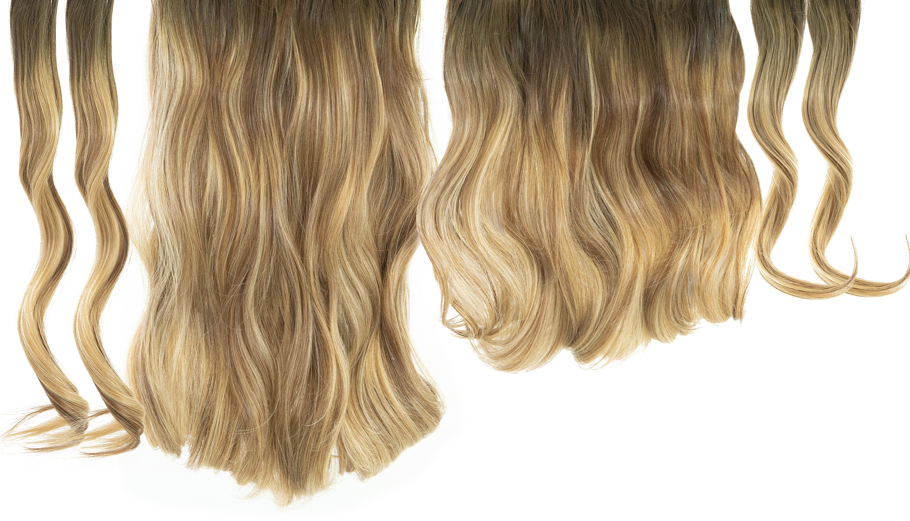 "12 Piece Clip In HD Fibre Hair Extensions - 16"" / 22"" - Biscuit Balayage (3664516055120)"