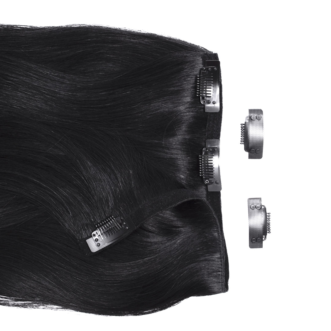 Multi Weft Clip In Human Hair Extensions - Black (448283332)