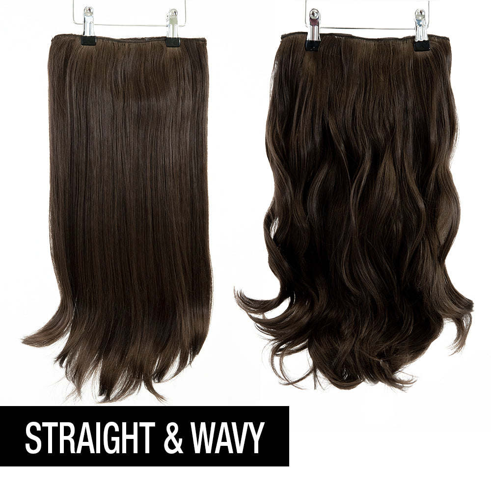 "12 Piece Clip In HD Fibre Hair Extensions - 16"" / 22"" - Brown Cocoa (1572138123344)"