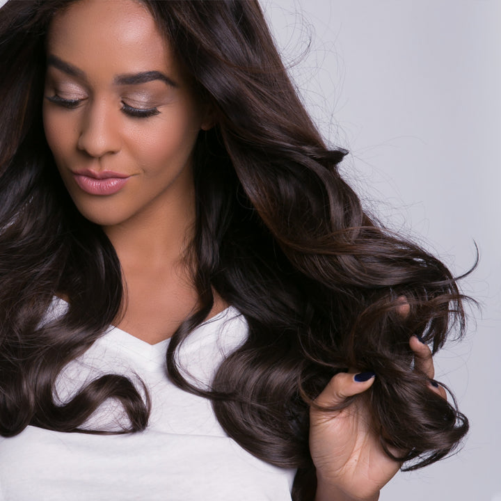"12 Piece Clip In HD Fibre Hair Extensions - 16"" / 22"" - Dark Brown Ombre (1572145037392)"