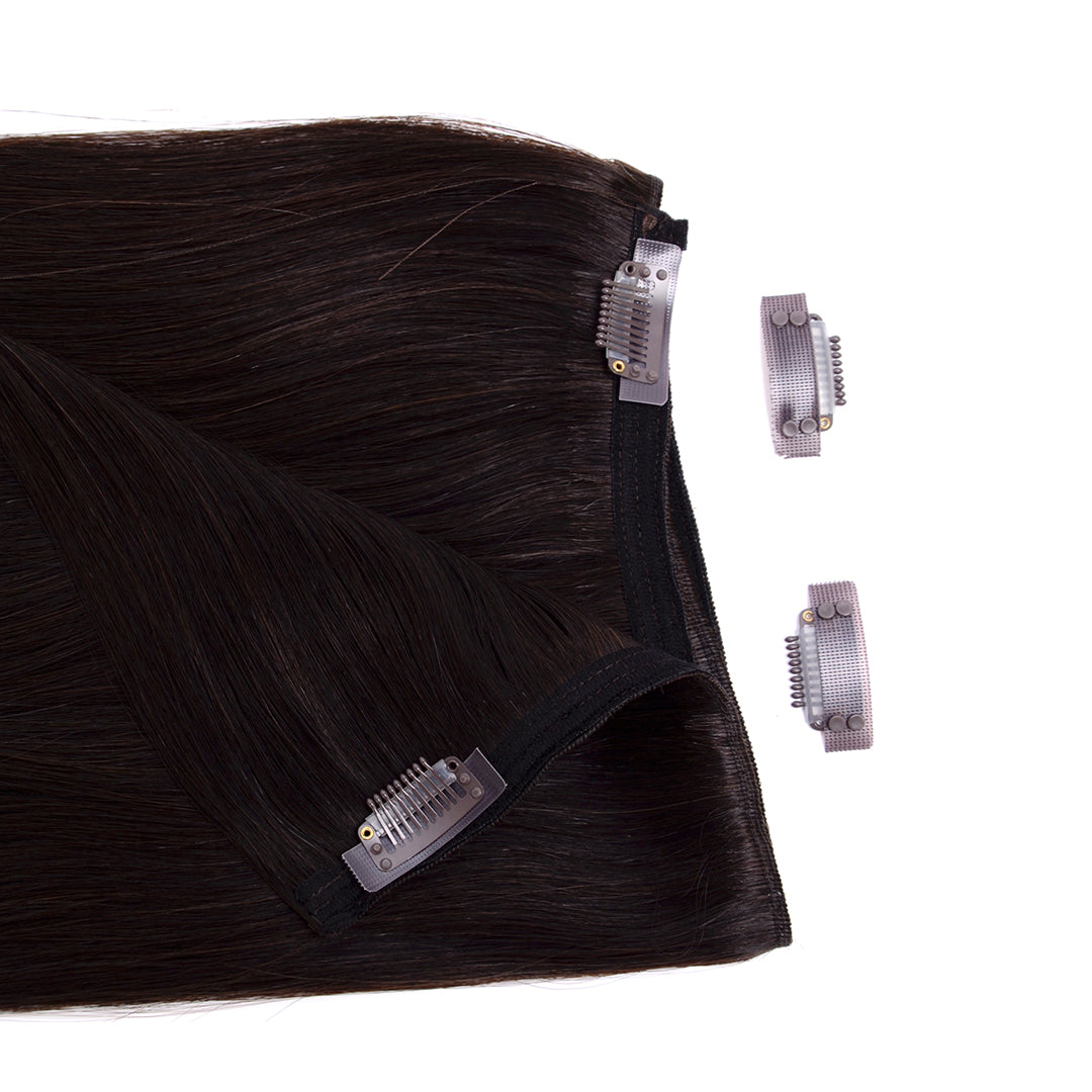Multi Weft Clip In Human Hair Extensions - Darkest Brown (448284048)
