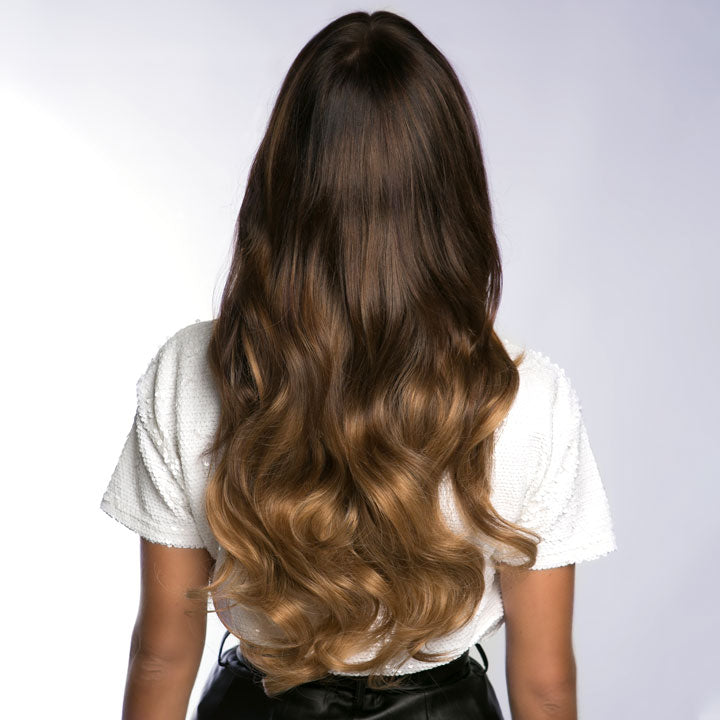 6 in 1 Clip In Hair Extensions - Medium Brown Ombre