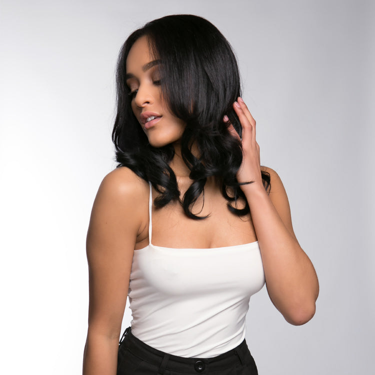 "12 Piece Clip In HD Fibre Hair Extensions - 16"" / 22"" - Ebony (1572134092880)"