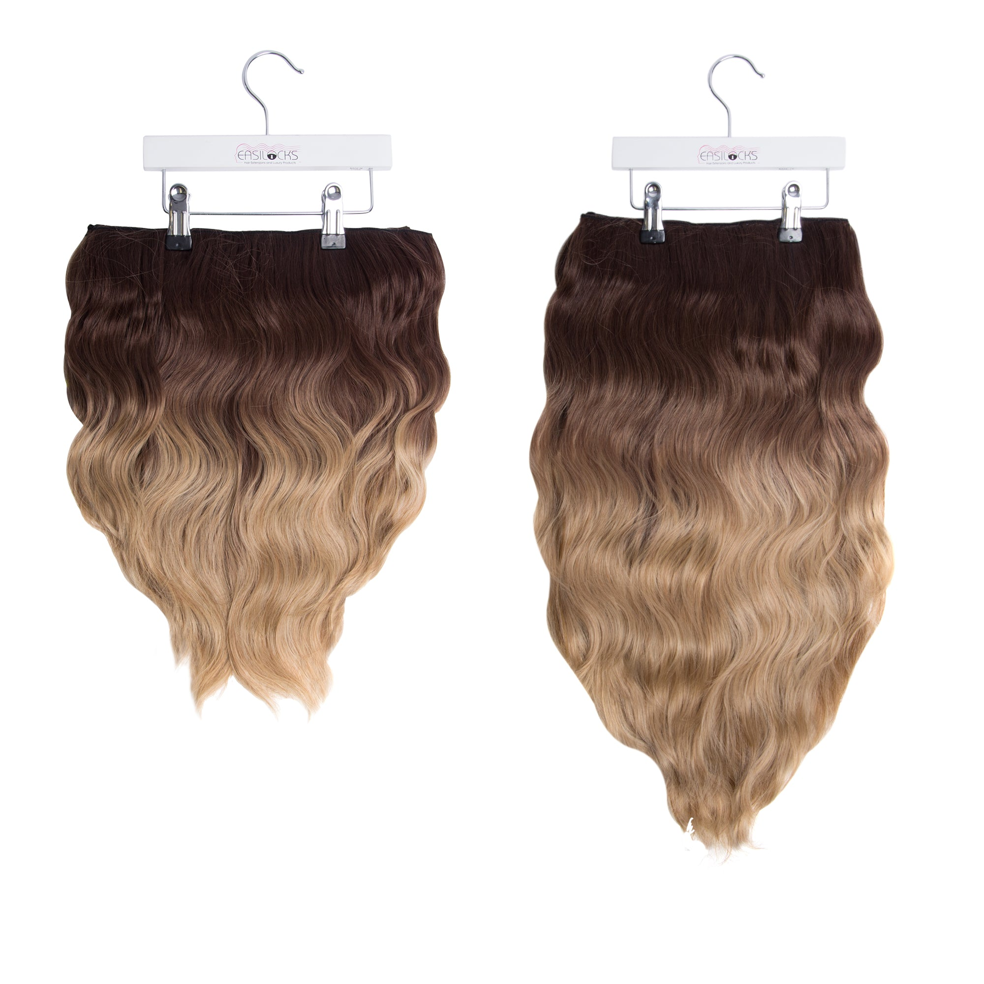 "Miracle Makeover HD Fibre Clip In Hair Extensions - 14"" & 22"" - Lightest Brown Ombre (1319144095824)"