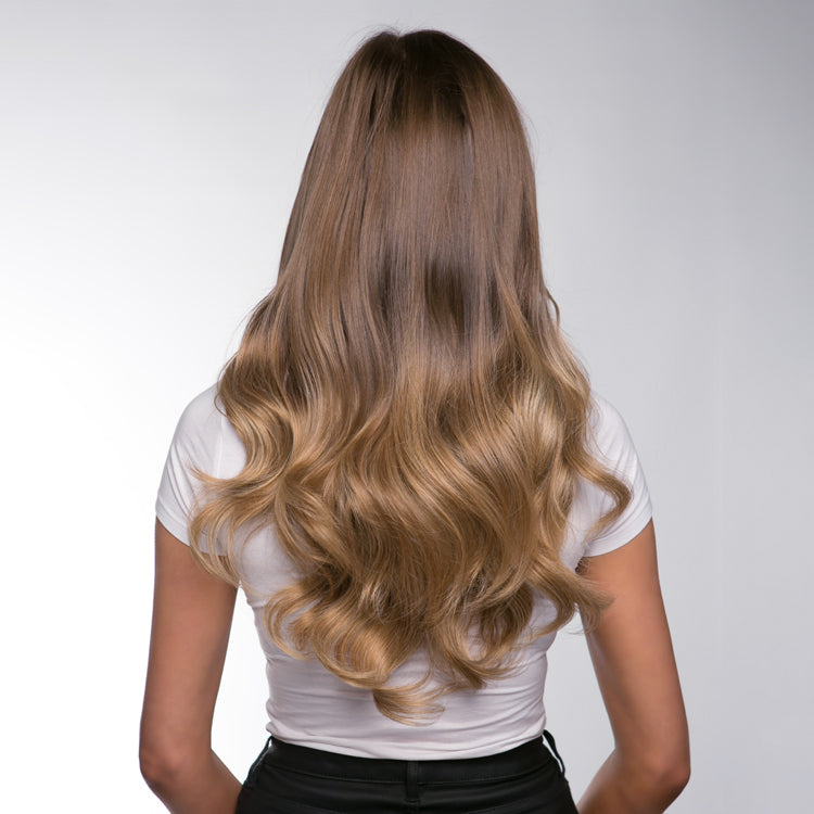 "12 Piece Clip In HD Fibre Hair Extensions - 16"" / 22"" - Lightest Brown Ombre (1572143235152)"