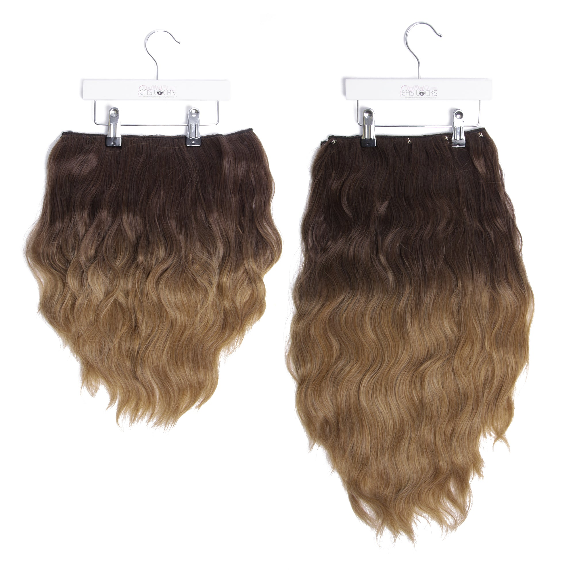 "Miracle Makeover HD Fibre Clip In Hair Extensions - 14"" & 22"" - Medium Brown Ombre (1319143931984)"