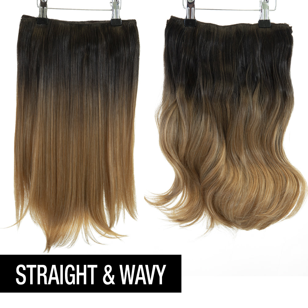 "12 Piece Clip In HD Fibre Hair Extensions - 16"" / 22"" - Medium Brown Ombre (1572143956048)"
