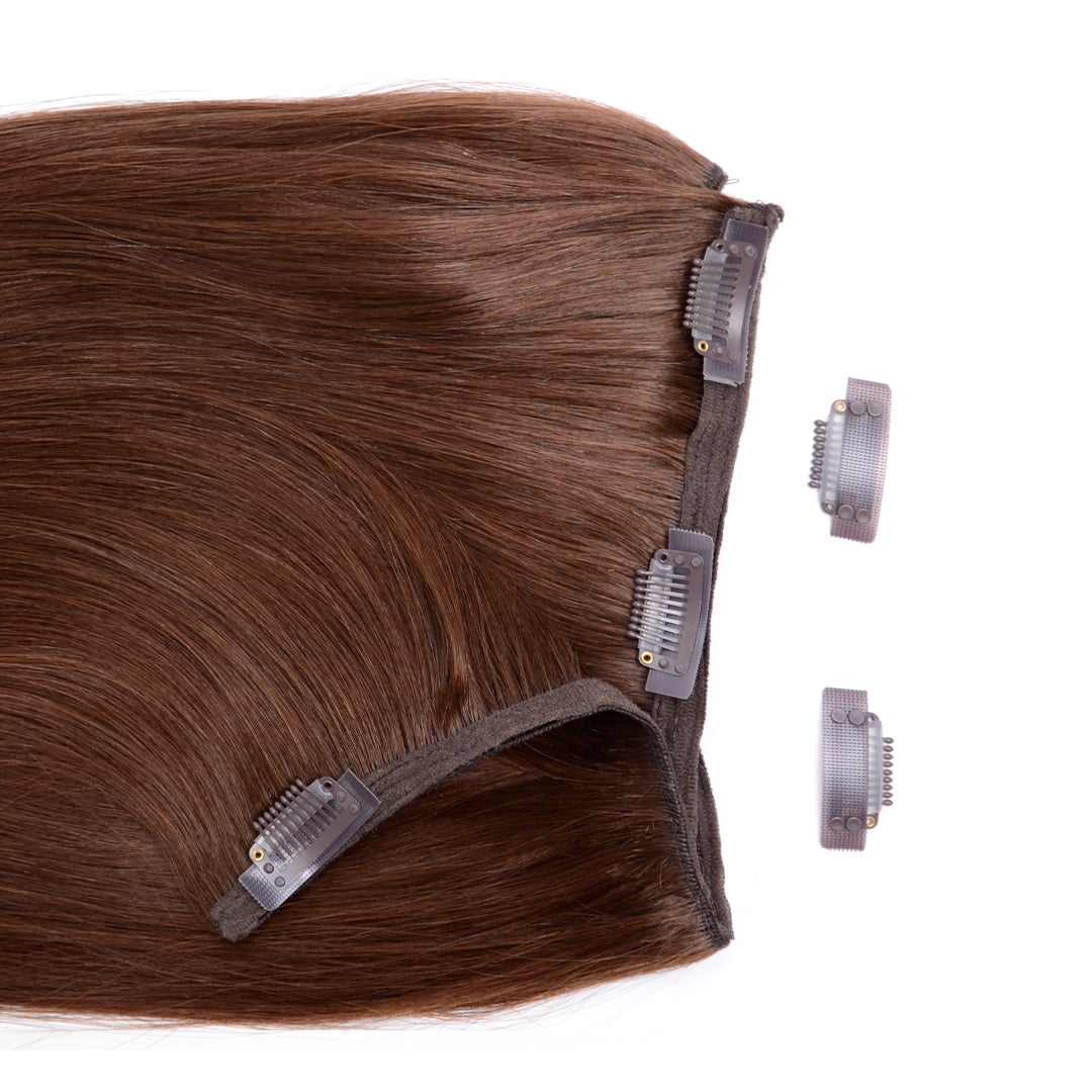 Multi Weft Clip In Human Hair Extensions - Medium Brown (448284936)