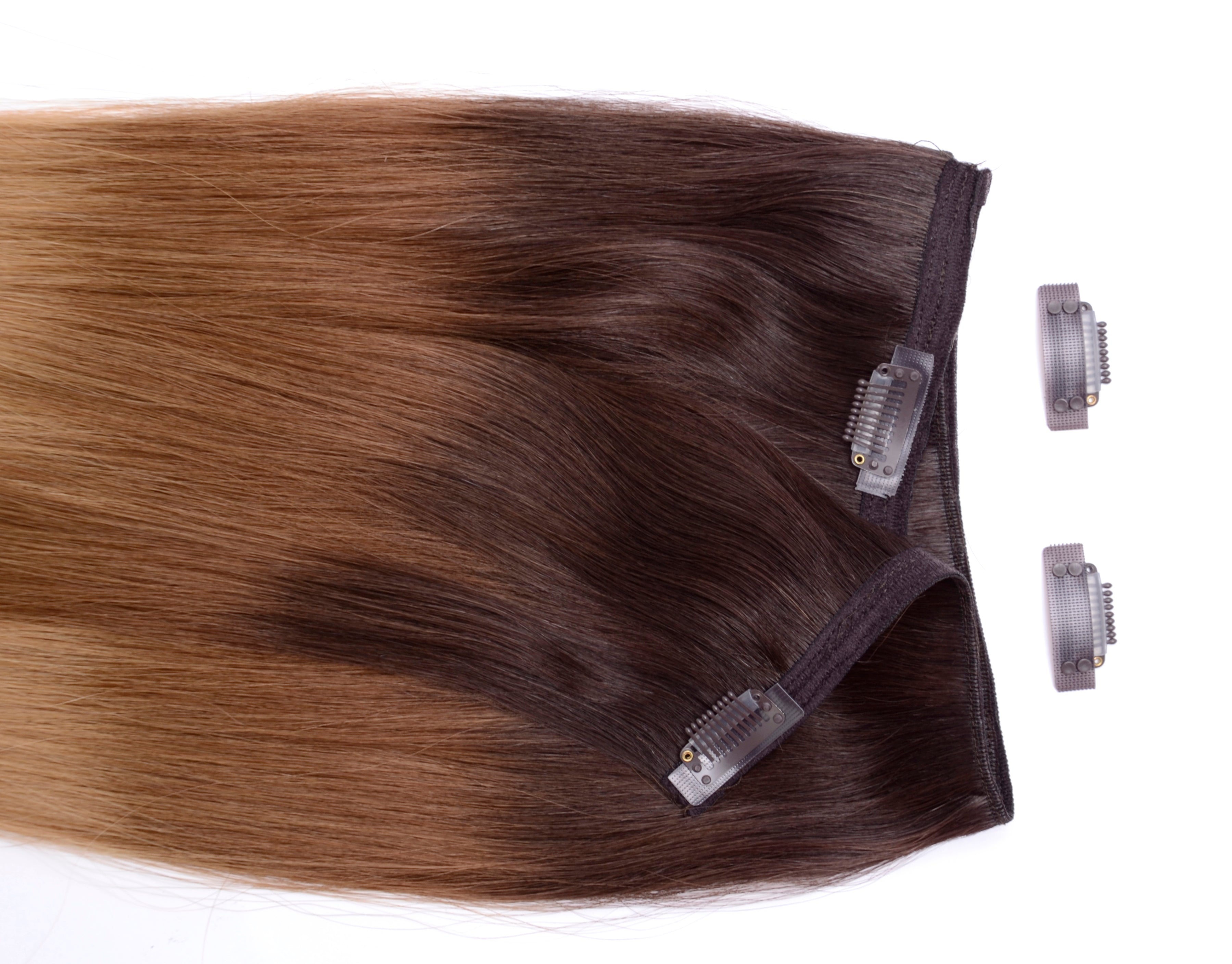 "Clip In 20"" Weft Human Hair Extensions - Frosted Caramel (448285208)"