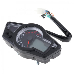 12V Universal Tachometer BLUE LCD Backlight Speedometer Odometer Motorcycle Instrument Panel
