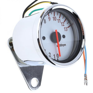 General Purpose 13000 RPM 12V Motorcycle White Chassis 5 Wire Speed Indicator Motorcycle Tachometer