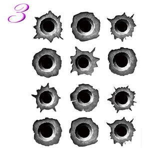 1Pcs 23 x 29cm Funny 3D Bullet Hole  realistic  Car Styling