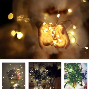 Feimefeiyou luminaria 2M/5M/10M Copper Wire LED String lights Holiday lighting For Fairy Christmas Tree Wedding Party Decoration