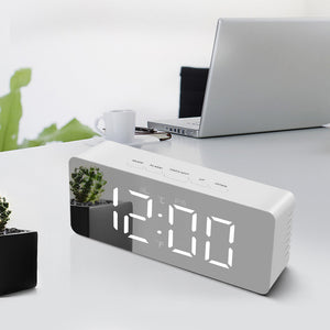 LED table desk Clock lamp Mirror display shows Digital Electronic Alarm Clock Bedroom table lamp for bedside Decoration lighting