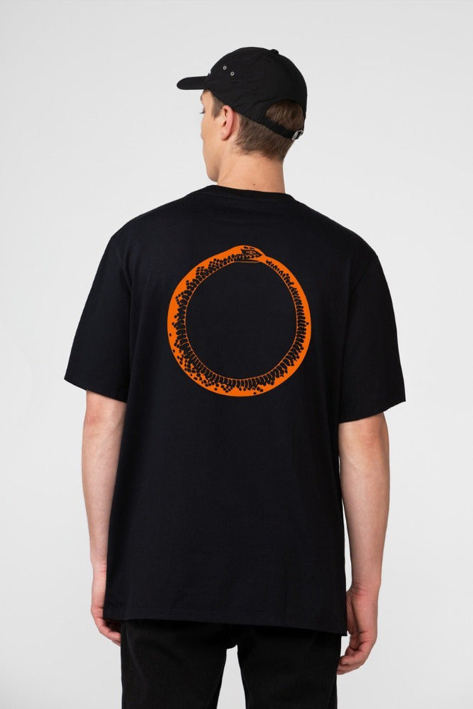 A black t-shirt with an Ouroboros design