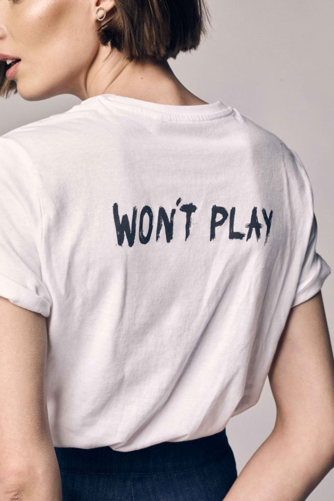 Pixie Won't Play logo on a white shirt