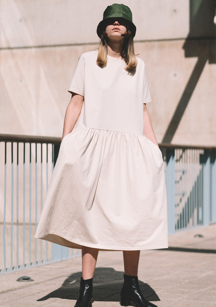 BEIGE ORGANIC COTTON DRESS - JUANMA by EL CUCO