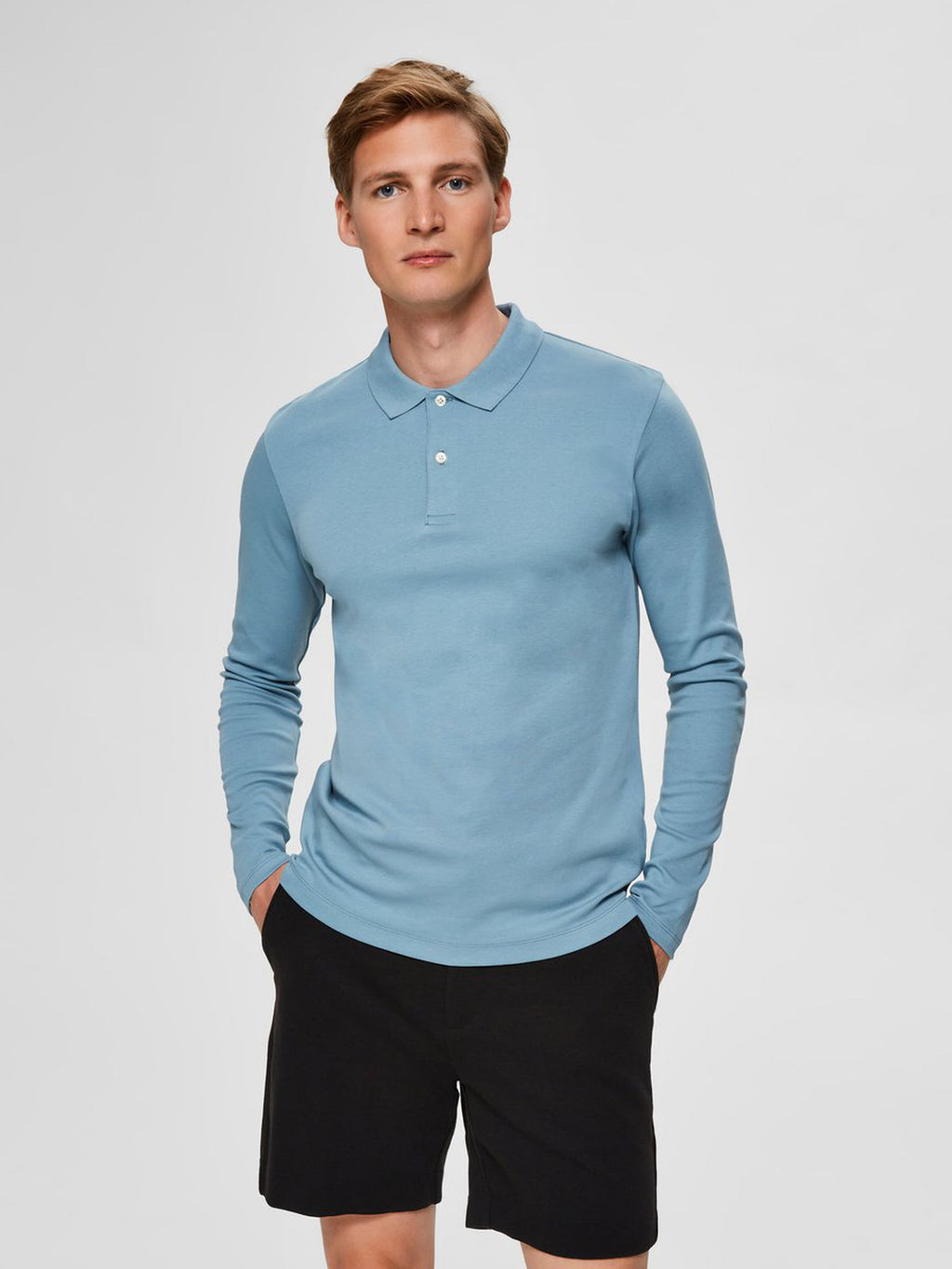 Selectedhomme paris polo long sleeve smoke blue