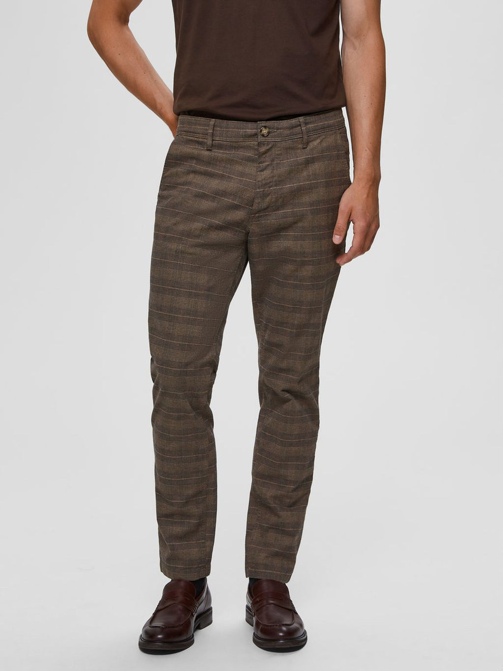 Selectedhomme slim-storm flex mix pants ermine check