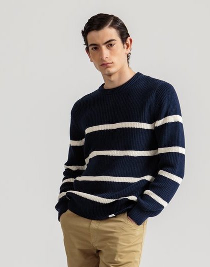 Edmmond all good horizontal stripes navy