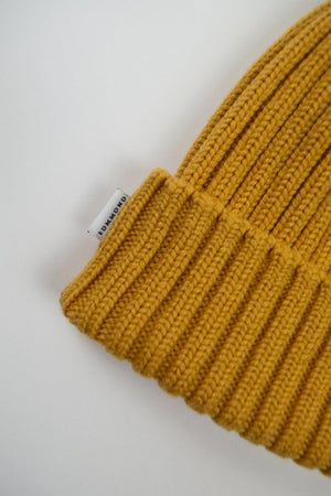 Edmmond wafle knit beanie plain mustard