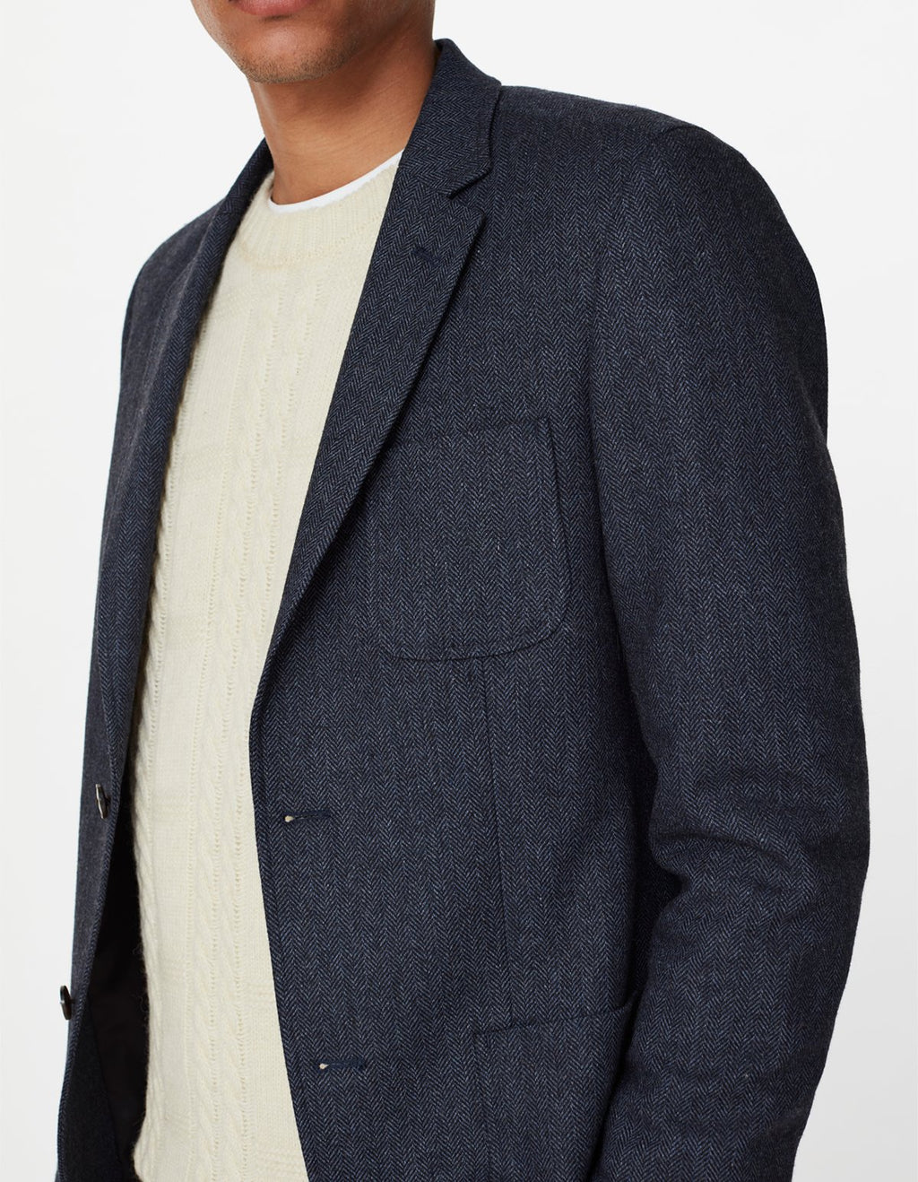 Les deux manhatten herringbone blazer dark navy black