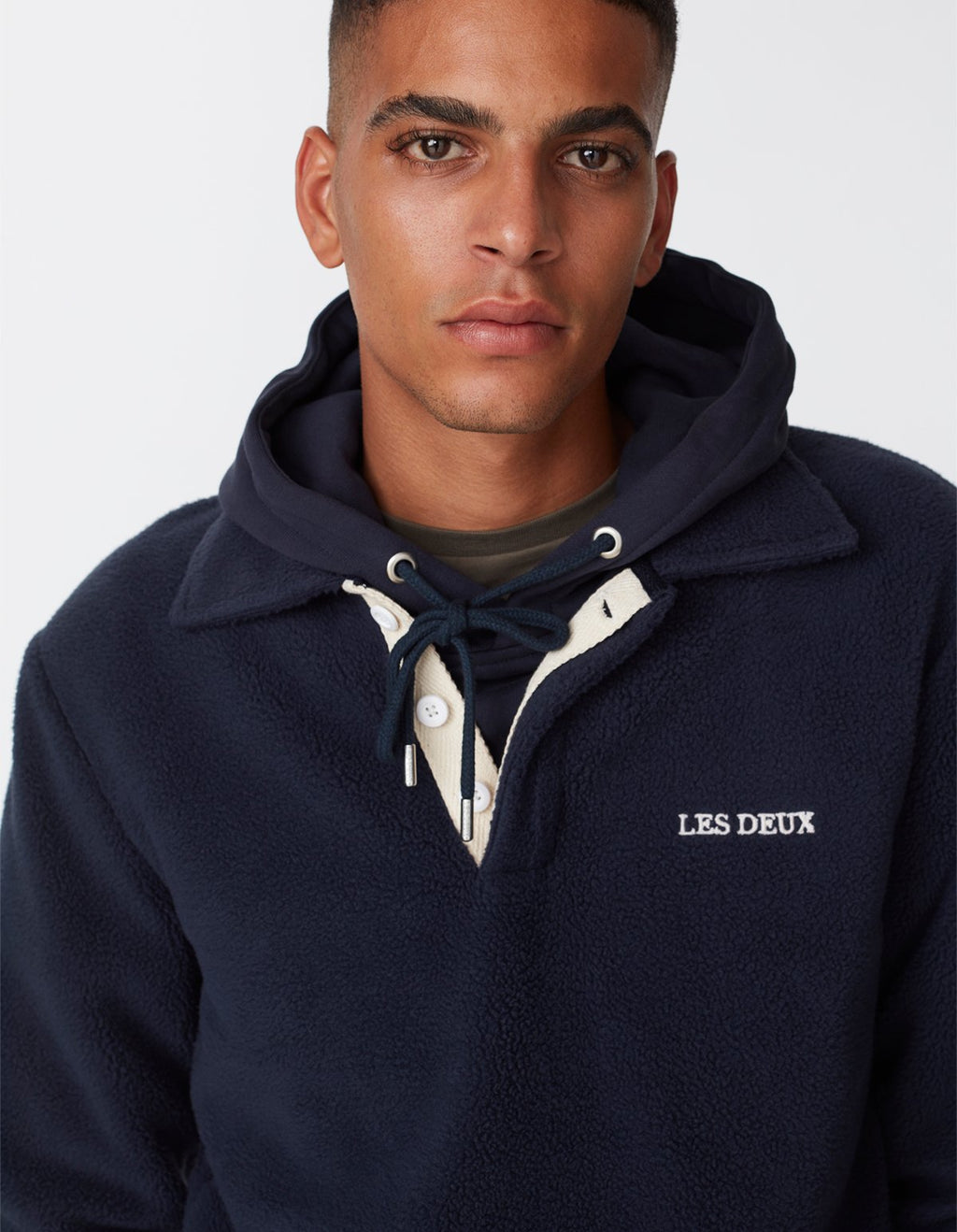 Les deux dallas fleece rugby sweatshirt dark navy