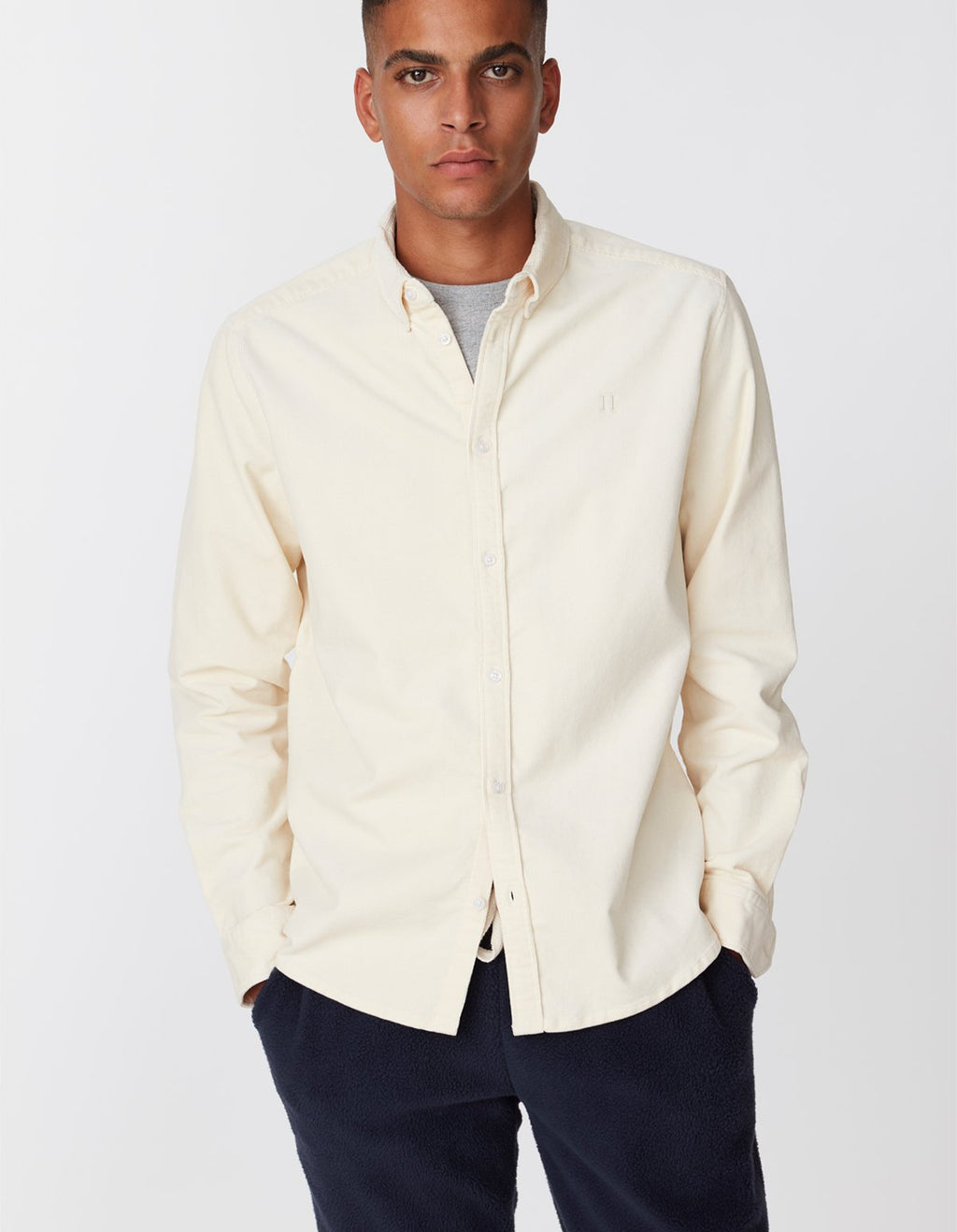 Les deux felix corduroy light shirt off white